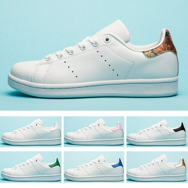 free shipping 34f3c fd552 Großhandel Adidas Stan Smith Stan Schuhe Mode Smith Marke Top Qualität  Herren Damen Designer Schuhe Streifen Grün Gold Weiß Neue Casual Leder  Sport ...