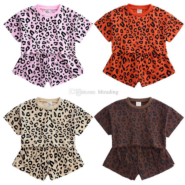 kids designer clothes girls Leopard outfits children short sleeve Tops+shorts 2pcs/set 2019 summer fashion Boutique baby Clothing Sets C6604