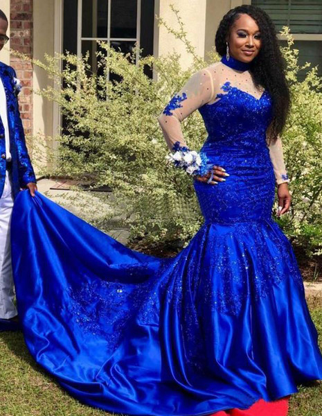 Royal Blue Mermaid Prom Dresses 2019 Beaded High Neck Sequined Long Sleeves Evening Gowns Sweep Train Satin Plus Size Formal Dress