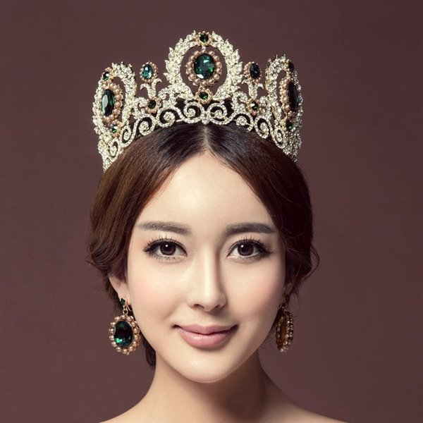 Baroque Royal Queen King Pearl Bridal Tiaras Crowns Wedding Hair Accessories Rhinestone Diadem Prom Pageant Crown With Earrings Y19061503