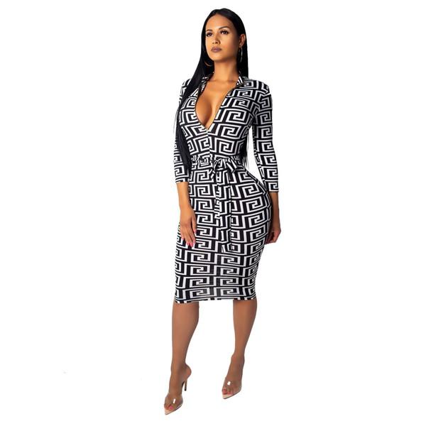 Mulheres Designer vestidos da forma Geometrics Padrão Vestido Sexy profundo decote em V Roupas Femininas Roupa 2019 New Size S - 2XL