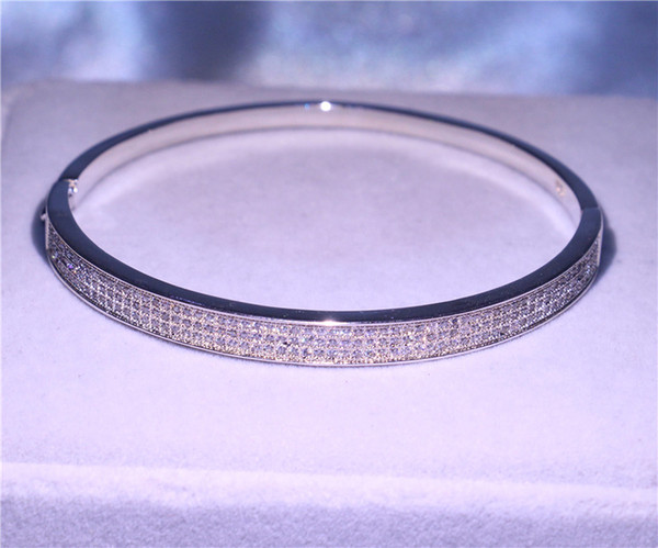 Key4fashion Handmade Fashion Bangle Jewelry 925 Sterling Silver Small Diamonique CZ Pave Setting Engagement Bracelet For Girlfriend Gift New