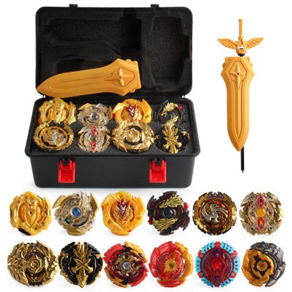 top popular Gold Edition 12 pieces Beyblade Burst Bey blade Gold Edition Gyro Storage Box Gyro Set Burst Gyro bayblde Foam Pressure For Children Toys 2020