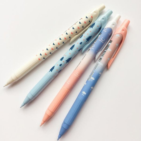 4 Pcs/set Cute 0.5mm/0.7mm Gradient Color Tree Cloud Press Mechanical Pencils Automatic Pencil Stationery School Office Gifts