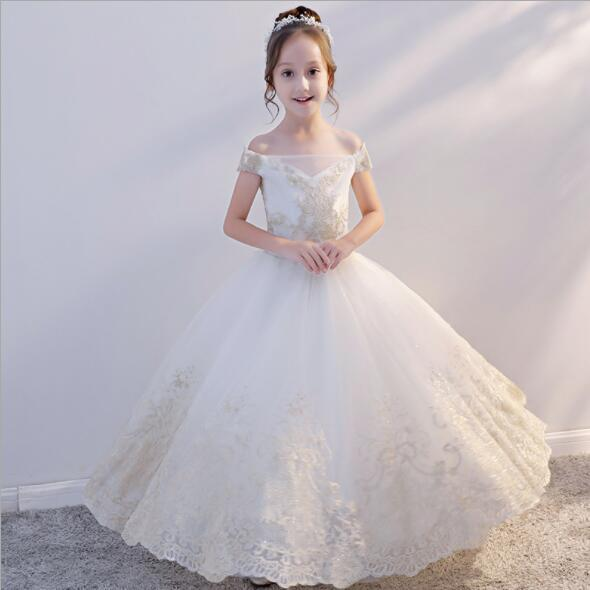 2019 New champagne Glitz Girls Shoulderless Wedding Dresses Appliques Party Tulle Princess Birthday Dress First Communion Gown Flower Girl D
