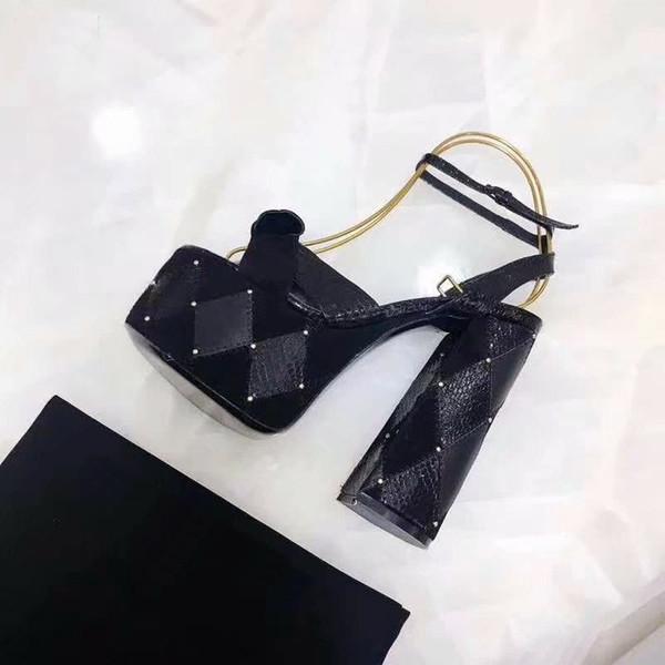 Nuevo diseñador de las mujeres de cristal de gamuza tacones gruesos correas de tobillo sandalias marca sexy 14 cm zapatos de verano 35-40 envío gratis