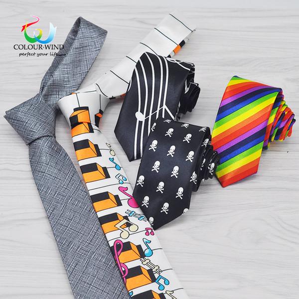 Corbata de poliéster de los hombres ocasionales 5 cm ancho cráneo estrecho corbata para niño ocio musical piano arco iris a rayas a cuadros Gravata para hombre