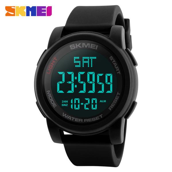 Skmei Herrenuhr Sportuhren Double Time Countdown 50m Wasserdichte Led Digital Armbanduhren Uhren Relogio Masculino Schwarz 1257 MX190716