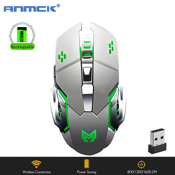 Anmck Noiseless Wireless Gaming Rechargeable Mouse Computer Gamer Mause 2.4Ghz Ergonomic Portable RGB Mice For Laptop Desktop