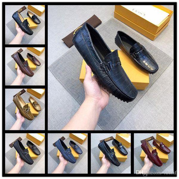 Wholesale en genuine leather shoes luxury handmade loafers slip on italian brand designer male dress shoes big size 38-45