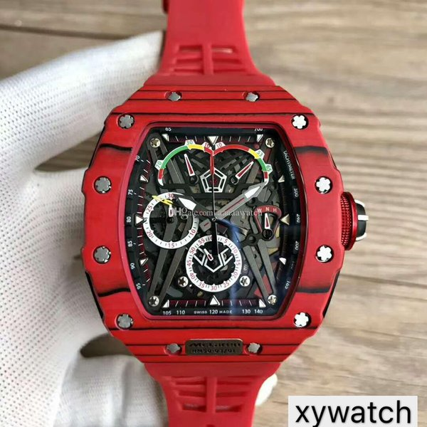 Top Sports Luxury Watch 50-03 Watch Swiss Quartz Chronograph Movement Skeleton Dial import Carbon Fiber Case Sapphire Crystal Rubber Strap