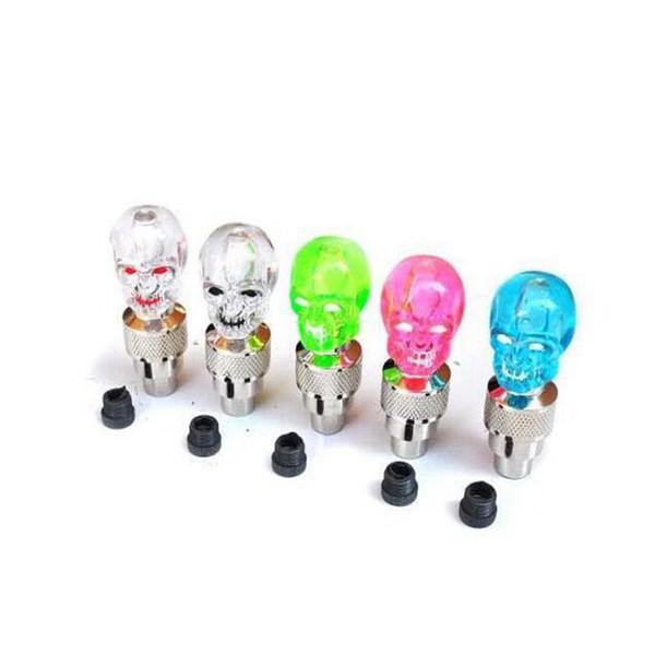Bike Wheel Lights Skull Mix LED Flash Light Neon Lamp Night Bike Car Tire Tyre Wheel Valve Caps Bike Lights ZZA701 3000pcs