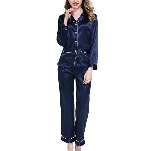Women Comfort Pajamas Set Silky Faux Satin Pyjamas Set Long Sleeve Sleepwear Spring Suit Two Piece Shirt &Pants Loungewear