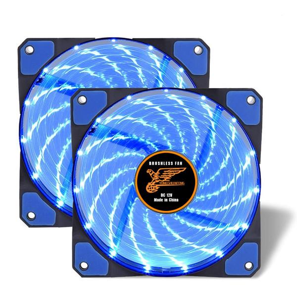 2er Pack blau 120mm Gehäuselüfter Kühlung PC und leuchten Computergehäuse mit coolem Look, lange Lebensdauer Lager mit DC 15 LED beleuchtet PC-Gehäuse. Quie