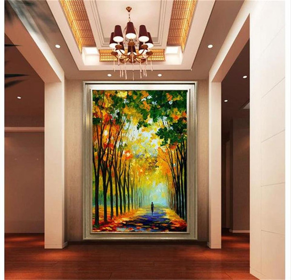custom size 3d photo wallpaper living room bed room porch forest road abstract 3d oil painting sofa TV backdrop wallpaper non-woven sticker