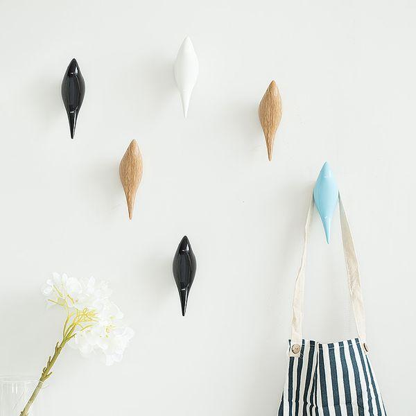 Creative wall hooks bird decoration Resin wood grain hooks bedroom door after animals 3D coat hook single wall hanger L50