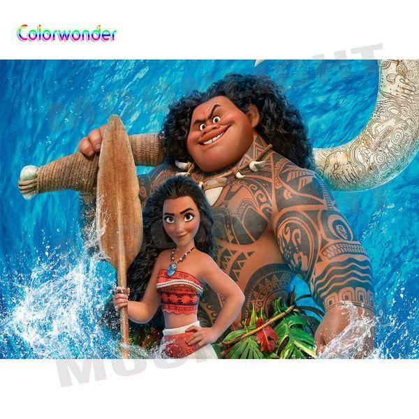 Princesswith الذهب ماوي خلفية ل حفلة عيد الأزرق المحيط الكرتون فيلم خلفية التصوير ل الوليد استحمام الطفل