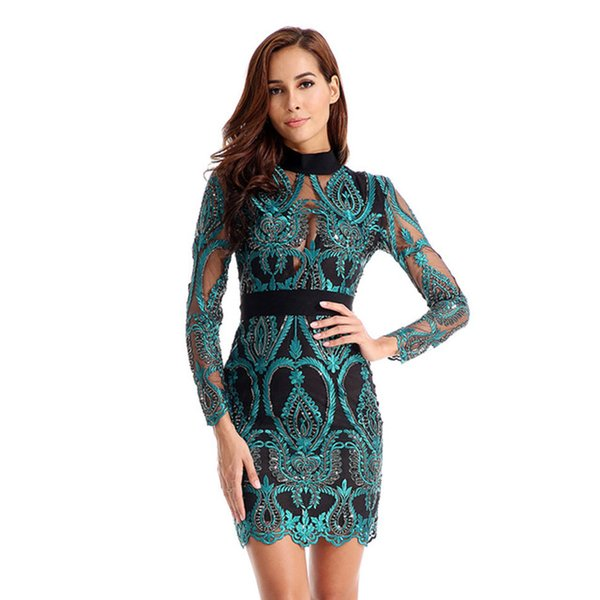 New Women Dress Long Sleeve Hollow Out Celebrity Lace Evening Party Dresses Sexy Club Vestidos Ladies Clothing Q190530
