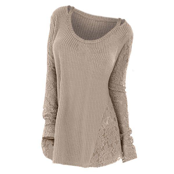 2019 Plus Size Lace-Panel Floral Frauen Pullover Langarm-Herbst-Winter gestrickte Tops Fest Jumper Lässige Pullover femme MX191031 ziehen