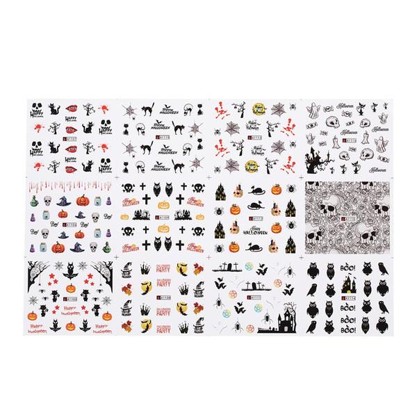 W5223-2 1 Pc/12 Sets Nail Manicure Decals Christmas Stickers Set Nail Art DIY Tools Nail Manicura Calcomanias Kuku Manikur Decals