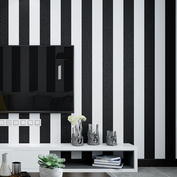 Moderne Mode schwarz weiß tief geprägte vertikale Streifen Tapete für Wände 3 D minimalistische Designs beflockten Streifen Tapeten Wohnkultur