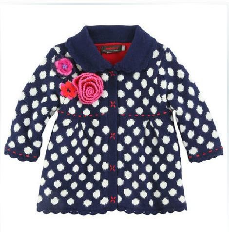 2 -8 años Marca Baby Girls dot suéteres Flores tridimensionales Mangas largas Abrigo niños Franela de invierno engrosada Suéter Ropa para niños