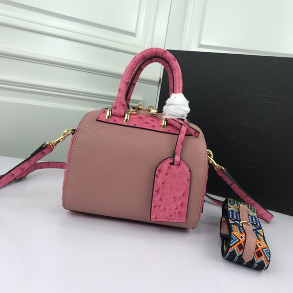 sweet style nude pink women designer brand shoulder bags pillow bag medium size match pink print large capacity women cross body bags