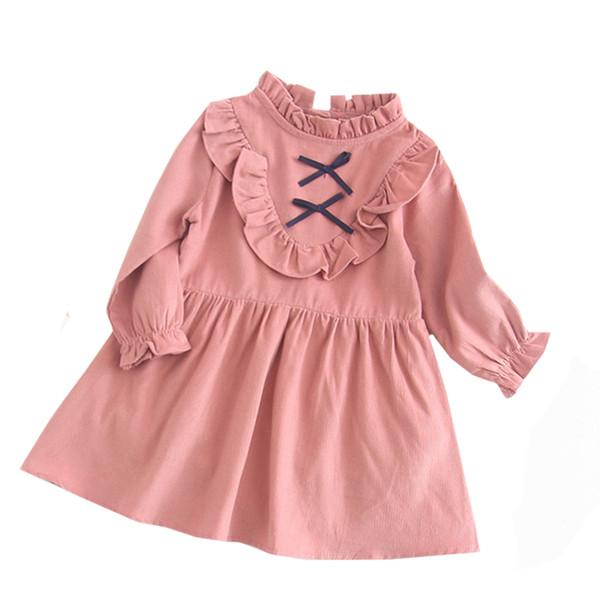 Frühling Herbst Mädchen Kleidung Kinder Kleider Für Mädchen Bogen Blume Kleid Baby Mädchen Party Hochzeit Kleid Kinder Prinzessin