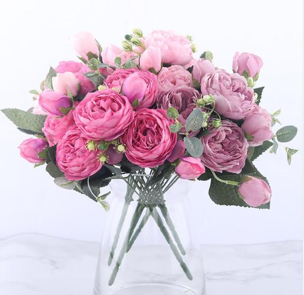 30 cm rosa rosa de seda de peonía flores artificiales ramo 5 cabeza grande y 4 brotes baratos flores falsas para la decoración de la boda en casa interior