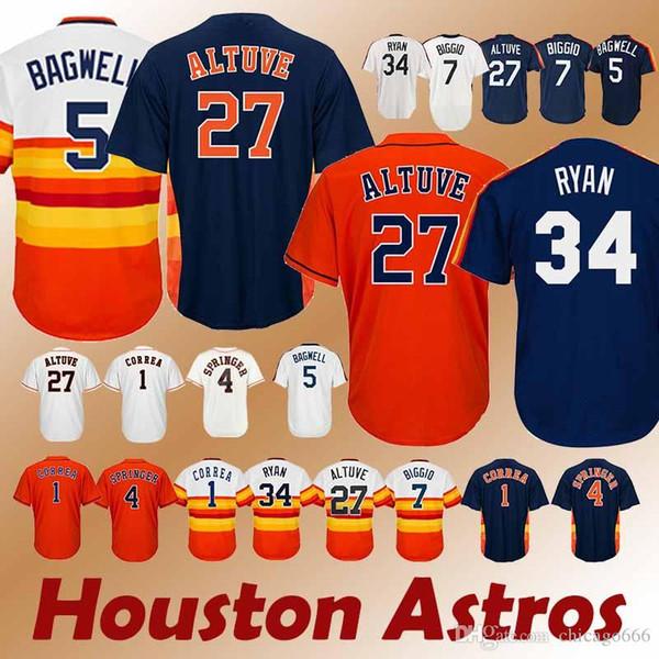 Astros formaları Houston 27 Jose Altuve 34 Nolan Ryan 7 Craig Biggio Sıcak satış Jersey spor