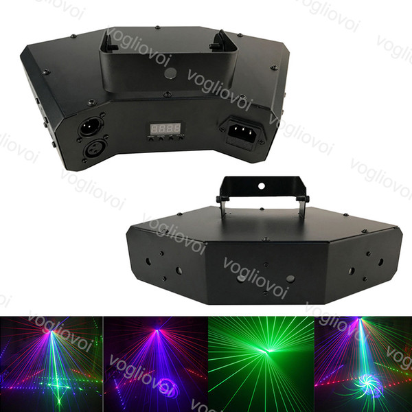 Dj Equipment 6 Lens DMX512 RGB Full Color Scan Stage Laser Light Six-eyes Beam 16 Patterns Laser Light DJ Disco Laser Lighting DHL