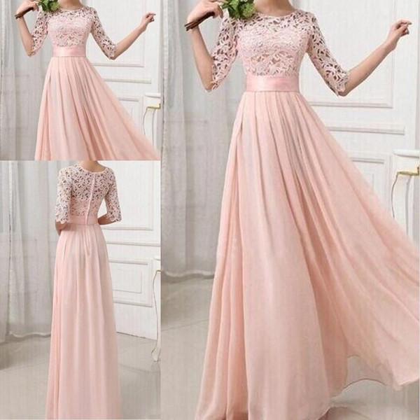 Luz rosa Chiffon Lace vestidos de dama de honra com meia manga Jewel até o chão A linha Long Wedding Convidado Vestido Simples Ocasião Especial Vestido