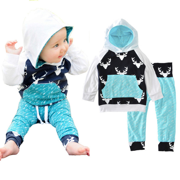 2019 Autumn baby boy clothing set Christmas long sleeve hooded outerwear deer printed coat and pant free shipping