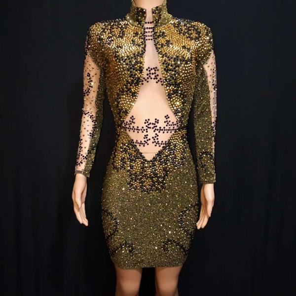 Sexy Black Gold Strass Body Moda Donna brillante ballo indossano costumi della fase dei vestiti della festa di compleanno Body Wear