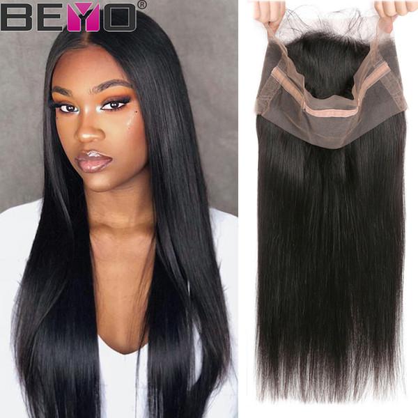 360 Lace Frontal Pre gezupft mit dem Babyhaar Straight Lace Frontal Closure peruanisches Menschenhaar Closure Remy Hair Medium Brown Schweizer Spitze Beyo
