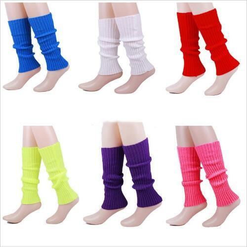 Leg Warmers Candy Color Striped Boot Cuffs Crochet Wool Long Socks Christmas Boot Socks Covers Knitted Cocktail Party Leggings Tights B5258