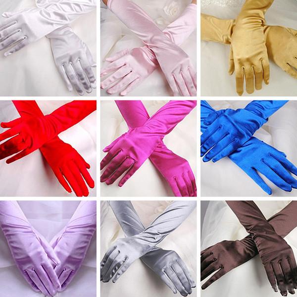 Женщины Chic Длинные перчатки Stretch Хэллоуин атласные перчатки вечера выпускного вечера партии Новый