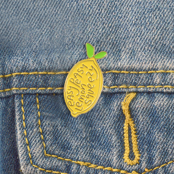 Lemon enamel pin Easy peasy Brooches Gift for Kids friends Fruit icons Pin Badge Button Lapel pins for Denim Clothes cap bag