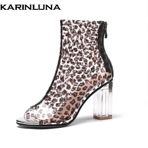 KarinLuna Novo grande tamanho 31-45 Sexy Leopardo Verão Ankle Boots Mulheres de salto Alto transparente peep toe mulheres sapatos mulher