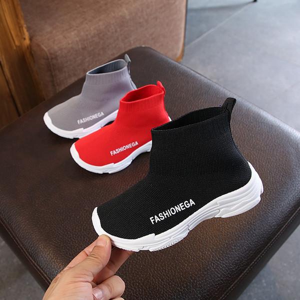 Nouveau chaussettes printemps et automne 2018 étirement version coréenne de garçons de haut-dessus chaussures tricotés filles enfants chaussures de sport occasionnels