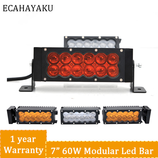 Ecahayaku Led Light Bar 7 5 Inch Diy Length 60w Double Row Led Work Light Car Styling Amber White Color Spotlights 4300k 6500k Led White Lights Led