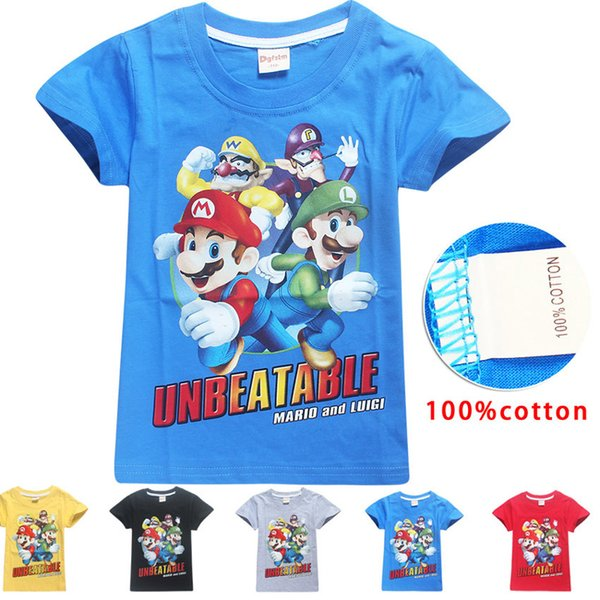 best selling 5 Color Boys Girls  Bros T-shirts 2019 New Children Game Cartoon cotton Short sleeve t shirt Baby kids clothing for 4~10years C