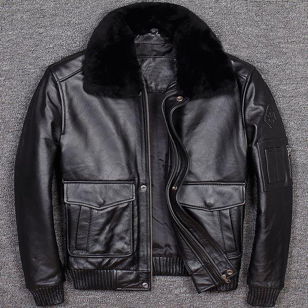 2019 Genine Leather Jacket Men Cowhide G1 Leather Coat Short Motorcycle Biker Winter Clothing Black Bomber Jacket