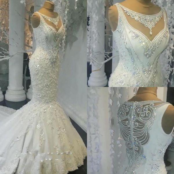 2019 Echt Fotos Luxus Dubai Arabisch Meerjungfrau Brautkleider Plus Size Perlen Kristalle Gericht Zug Brautkleid Brautkleider Benutzerdefinierte