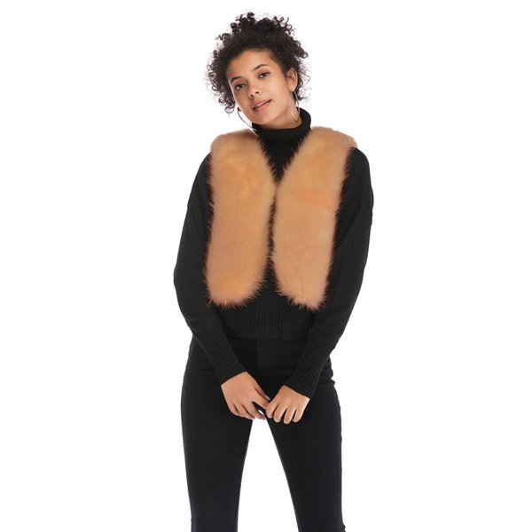 Winter Faux Fur Vest for Women V-neck Sleeveless Artificial Fur Waistcoat Hairy Coat Female Outerwear Waistcoat