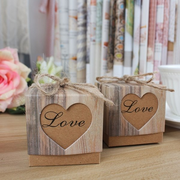 10pcs/lot Wedding Candy Box Romantic Heart Kraft Gift Bag with Burlap Twine Chic Wedding Favors and Gifts Box Party Supplies C18112701