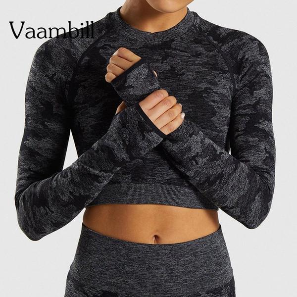 Yoga mujer de manga larga del gimnasio sin fisuras Crop Top de la aptitud del deporte camiseta de entrenamiento para deportes Tops para mujer