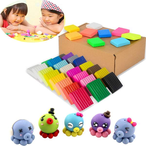 tool tool 24 Colors DIY Handmade Mud Polymer Clay Fimo Modeling Clay Block Playdough Kids Plasticine Toys Oven Bake Porcelain Tools