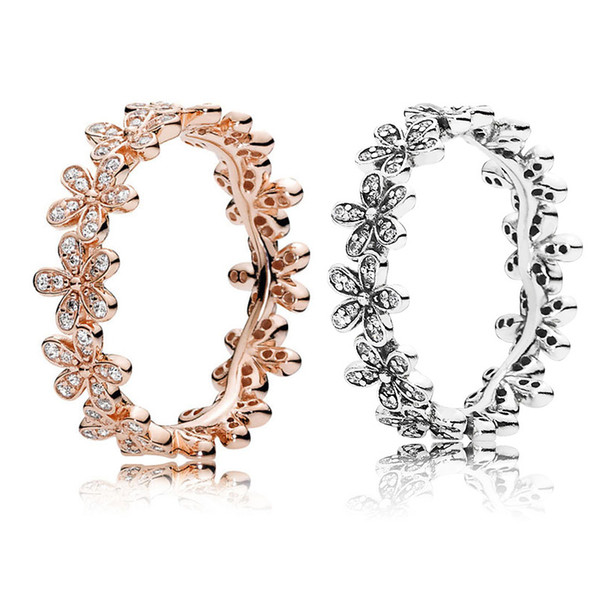 best selling 18K Rose gold \ Silver Dazzling Daisy Meadow Stackable Ring Original Box for Pandora 925 Sterling Silver designer rings Set