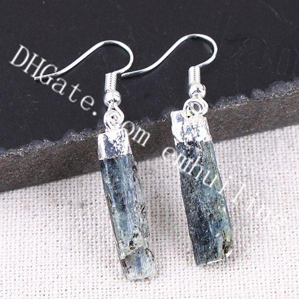 10Pairs 20-40mm Random Size Irregular Natural Raw Kyanite Crystal Stone Dangle Earrings Handcrafted Rough Healing Gemstone Women's Earrings